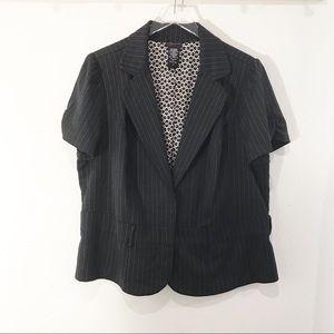 Torrid Black Pinstriped Short Sleeve Blazer